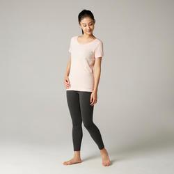 T-shirt voor pilates en lichte gym dames 100 katoen roze