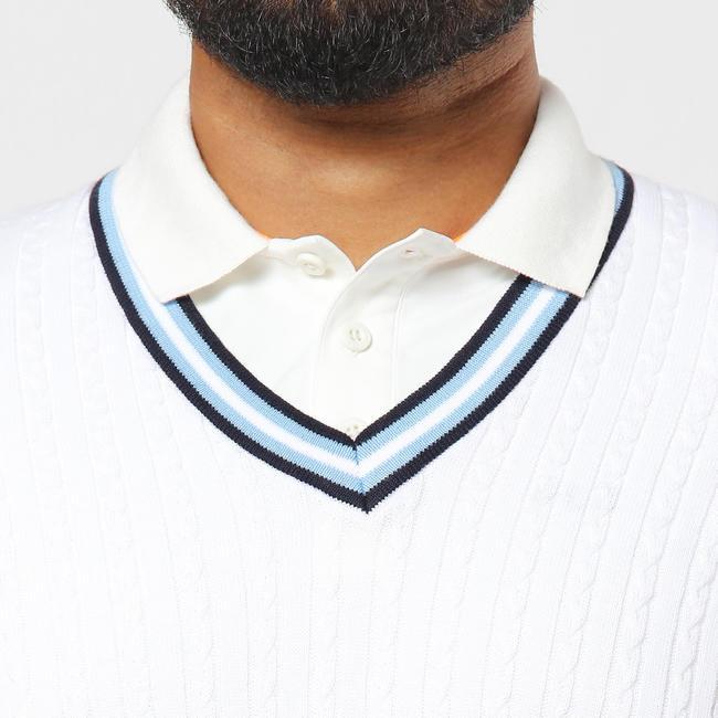 MEN'S CRICKET PULLOVER SWEATER WHITE