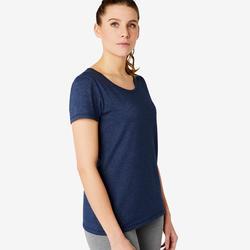 T-shirt voor pilates en lichte gym dames 500 regular fit blauw