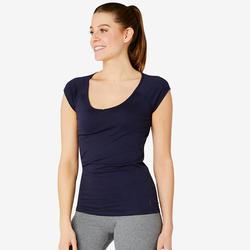 T-shirt voor pilates en lichte gym dames 500 slim fit marineblauw