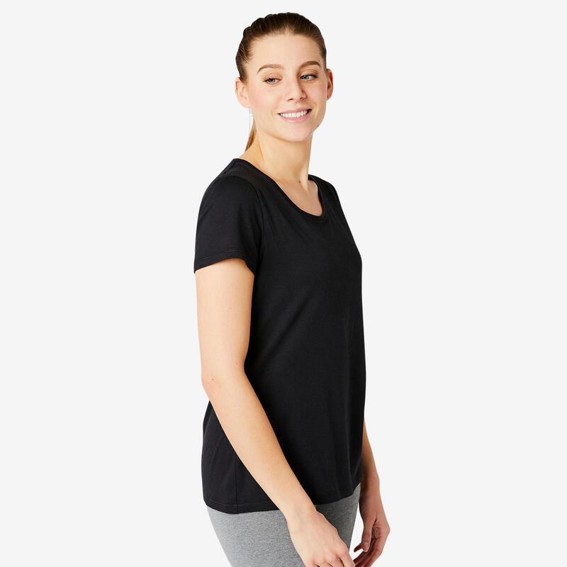 T-shirt fitness manches courtes droit coton extensible col rond femme noir