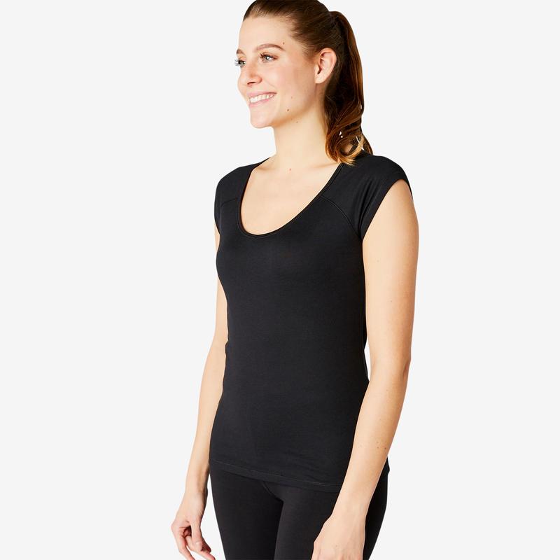 500 Slim-Fit Pilates & Gentle Gym Sport T-Shirt - Black - Women's