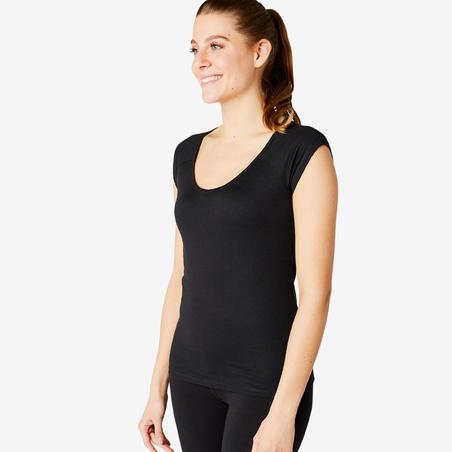 Women's Slim-Fit Pilates & Gentle Gym Sport T-Shirt 500 - Black