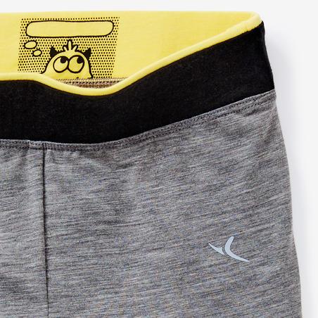 Legging Senam Bayi Perempuan 500 - Mid Grey/Kuning
