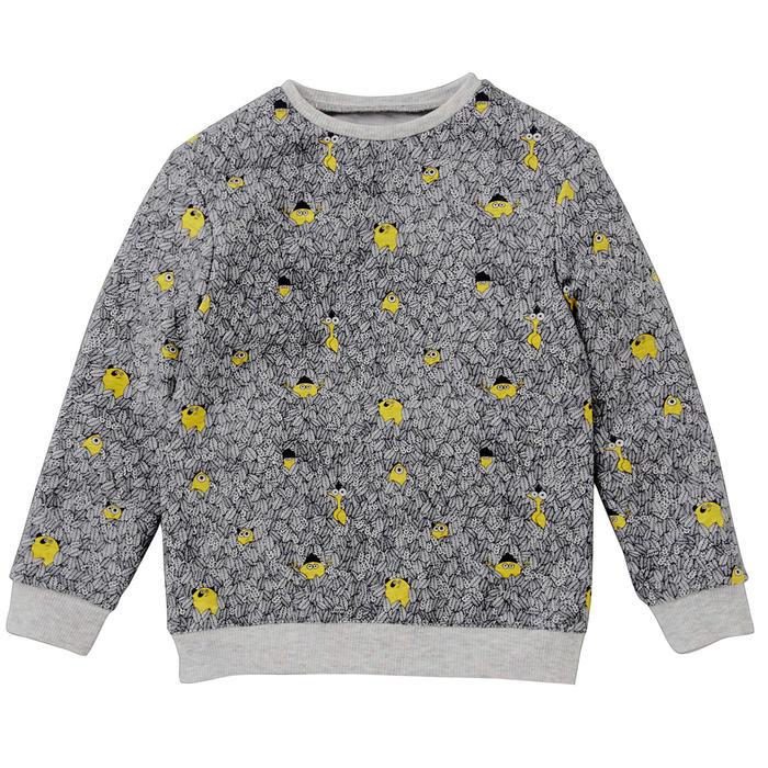 Sweater voor kleutergym 100 grijs/print