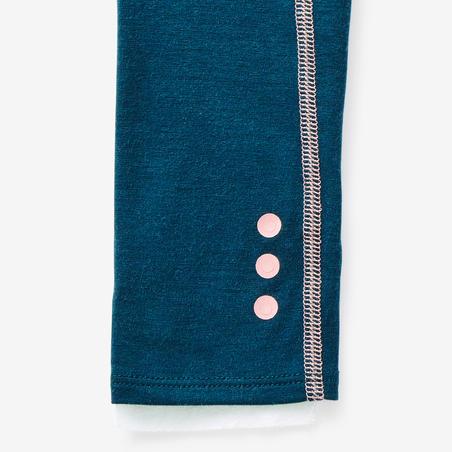 Legging Senam Bayi Perempuan 500 - Petrol Blue/Pink