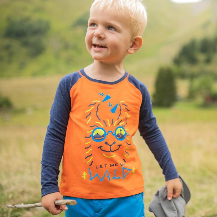 Uv-werend wandelshirt met lange mouwen voor kinderen MH150 oranje 2 tot 6 jaar