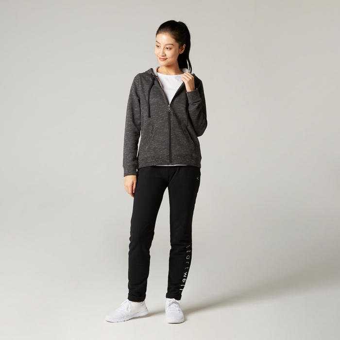 Women's Pilates & Gentle Gym Hooded Jacket 500 - Grey