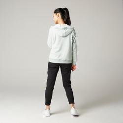 Women's Pilates & Gentle Gym Hooded Jacket 500 - Light Green
