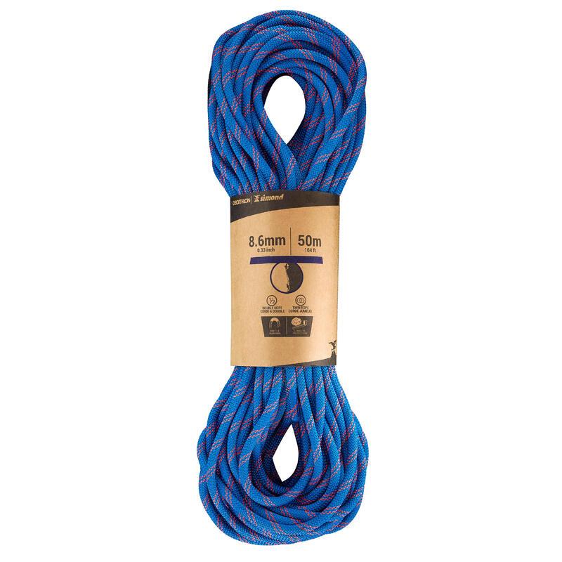 Dubbeltouw voor klimmen en alpinisme 8,6 mm x 50 m - Rappel 8,6 Blauw