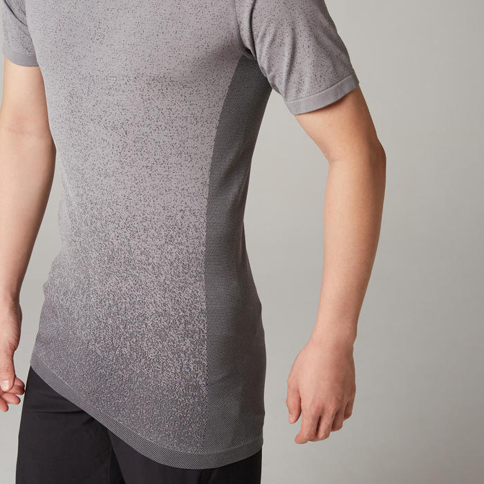Seamless Short-Sleeved Dynamic Yoga T-Shirt - Black/Grey
