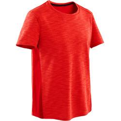Ademend T-shirt met korte mouwen voor gym jongens 500 katoen rood