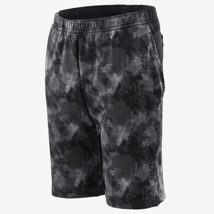 Ademende short voor gym jongens S500 synthetisch zwart/print