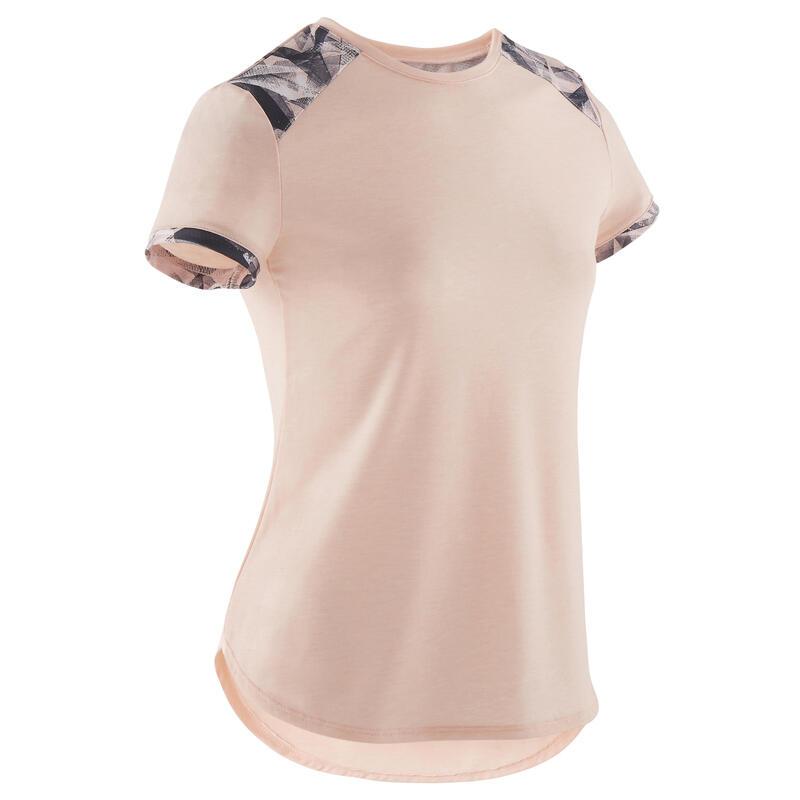 Girls' Breathable Short-Sleeved Gym T-Shirt 500 - Light Pink/Printed Shoulder