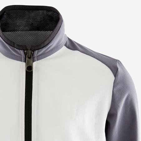 Jaket Senam Breathable Ringan Laki-laki W500 - Putih dan Abu-abu Gelap