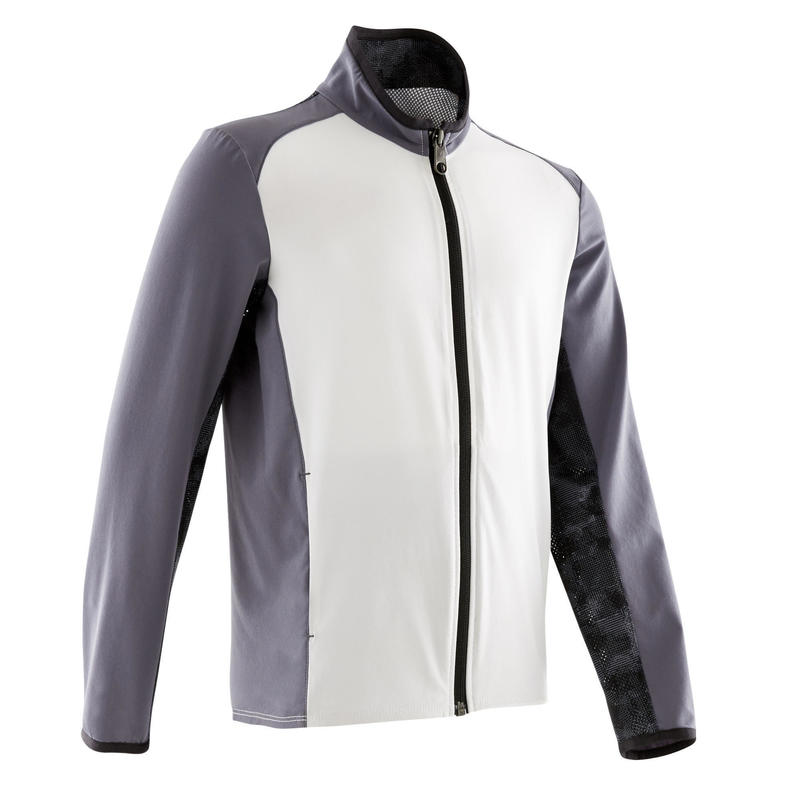 Boys' Light Breathable Gym Jacket W500 - White and Dark Grey