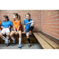 Chaussures de handball enfant H100 avec scratch orange/gris