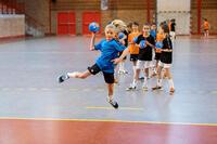 Balón de handball H100 SOFT niños T1 azul/naranja