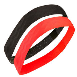 Haarband voor gym meisjes S900 set van 2 fluoroze en zwart