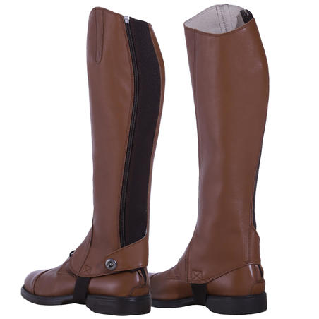 Paddock 700 Adult Horse Riding Leather Half Chaps - Camel
