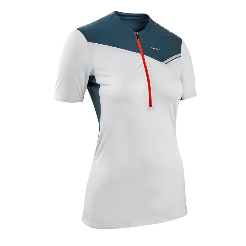 Tee shirt manches courtes trail running zip gris femme