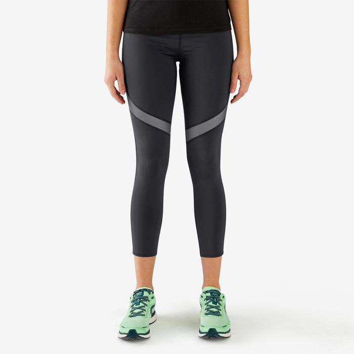 女款7/8分跑步緊身褲KIPRUN SUPPORT - 黑色