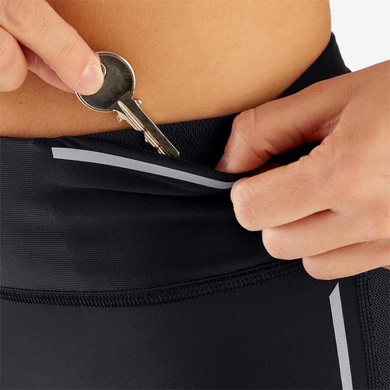 กางเกงเลกกิ้งผู้หญิงขา 7/8 สำหรับใสวิ่งรุ่น KIPRUN SUPPORT (สีดำ)