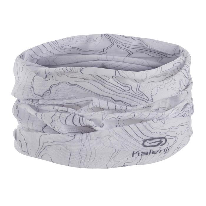 Multifunctionele hoofdband voor hardlopen wit met trailprint