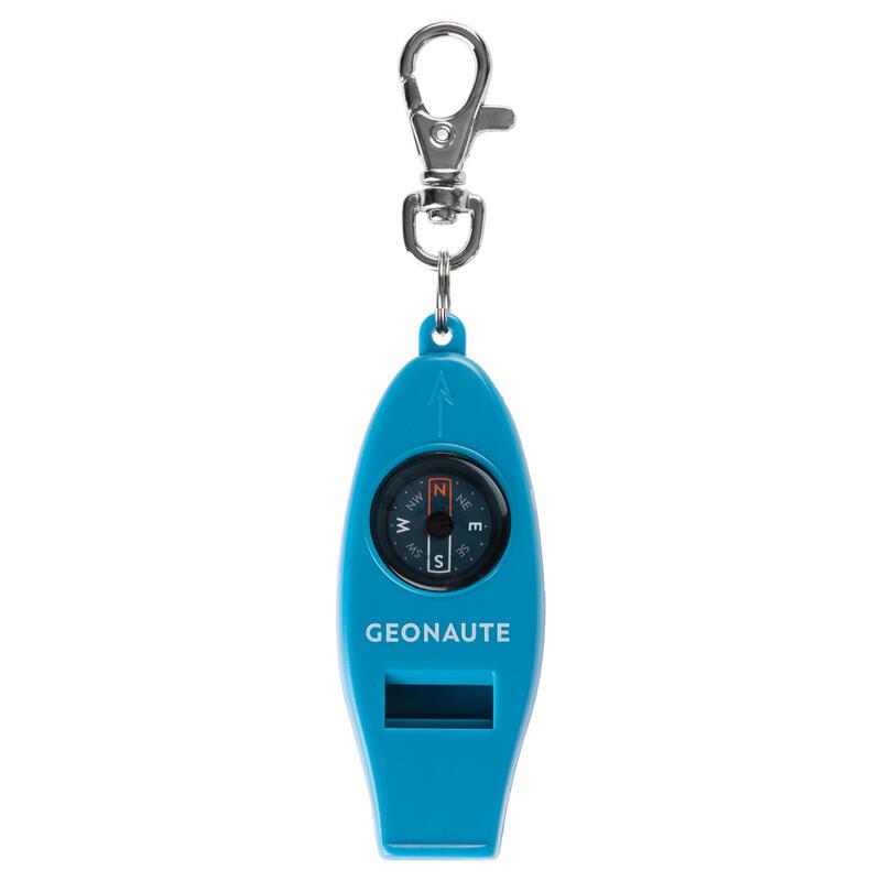 Multifunctioneel fluitje met kompas voor oriëntatieloop 50 blauw