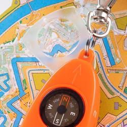 Multifunctioneel fluitje met kompas voor oriëntatieloop 50 oranje