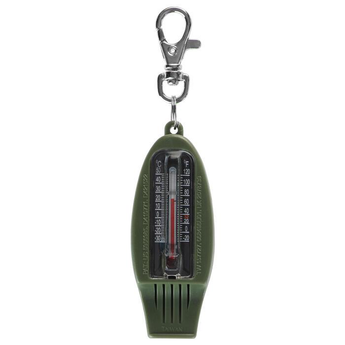 Multifunctioneel fluitje met kompas voor oriëntatieloop 50 kaki
