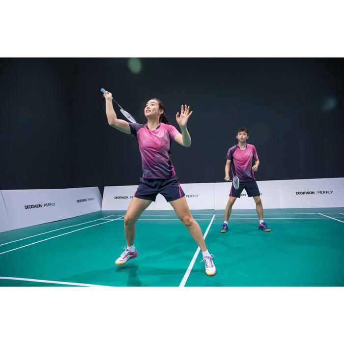 Badmintonshort voor heren 560 marineblauw/roze