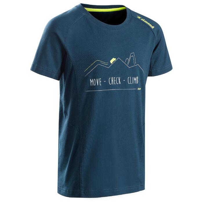 Klim-T-shirt voor jongens Comfort antiekblauw