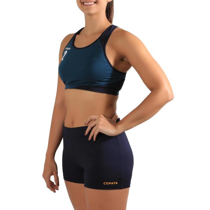 Beachvolleybalsl broekje dames BVSH500 blauw/geel
