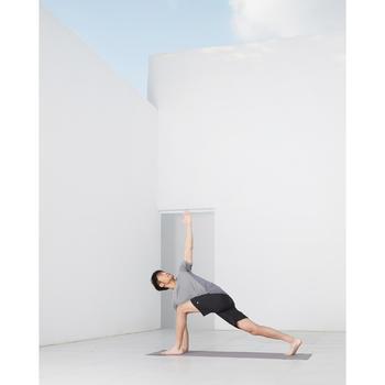 無縫短袖動態瑜珈T恤 - 黑色/灰色