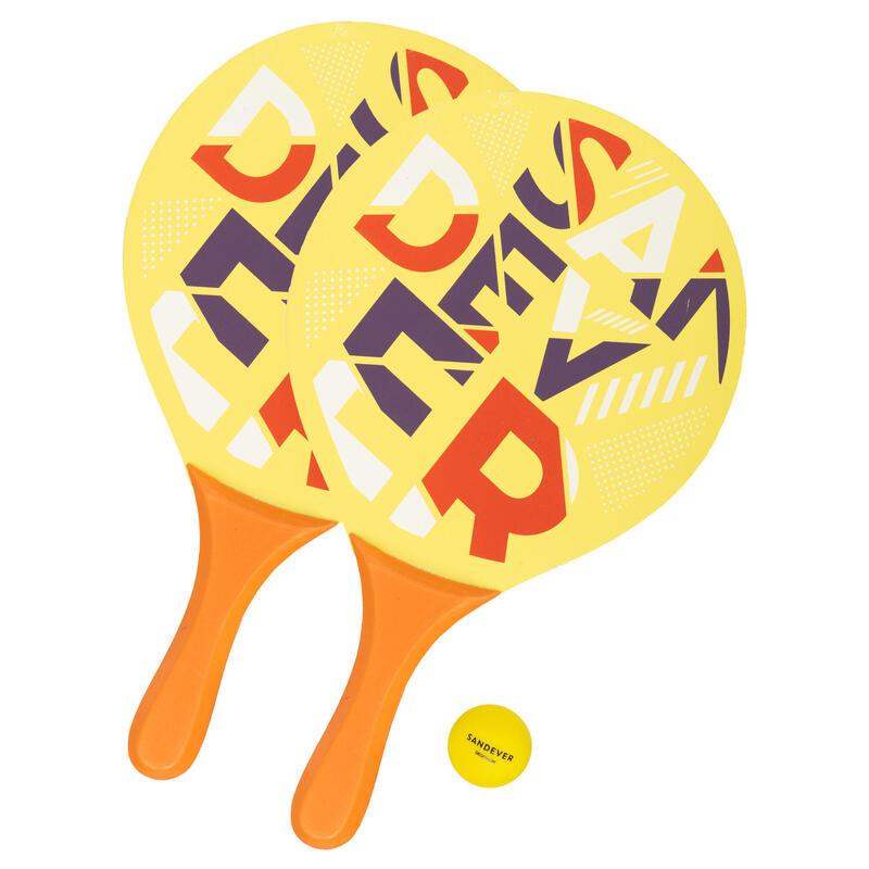 Beachtennisset Woody rackets Sand geel