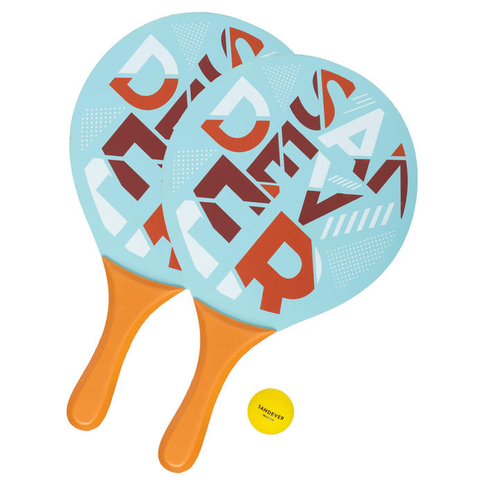 Beachtennis set Woody rackets blauw