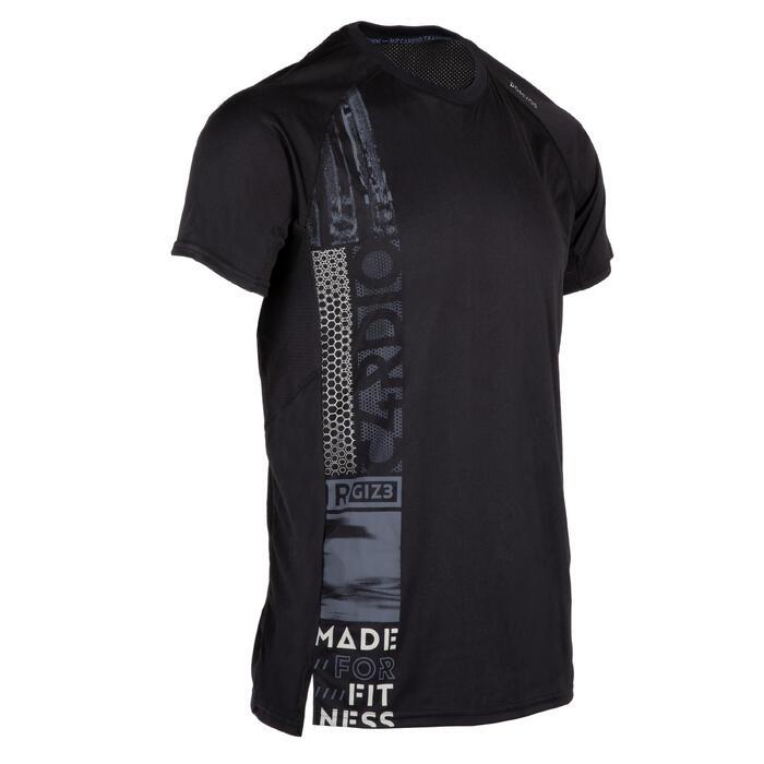 有氧健身T恤FTS 120-黑色印花款