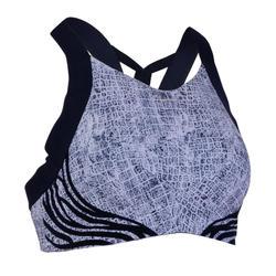 女款有氧健身運動內衣520-白色/藍色印花款