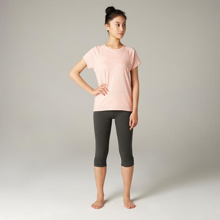 Women's Organic Cotton Gentle Yoga Cropped Bottoms - Grey/Pink
