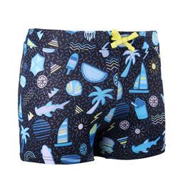 男童款四角泳褲100 PEP滿版圖案-黑色