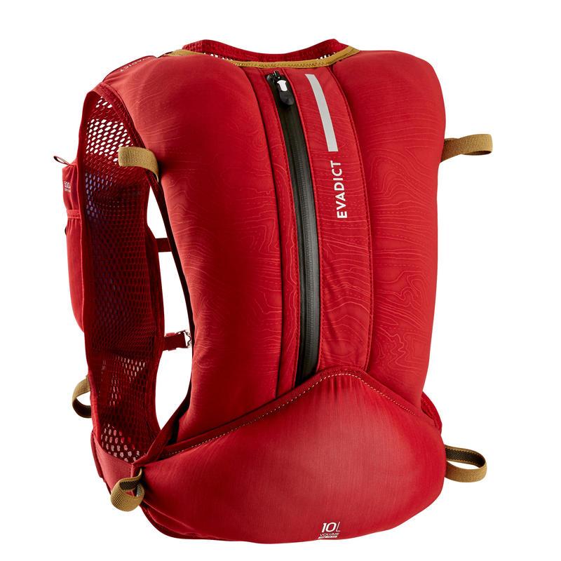 10 L中性越野跑步水袋背包 - 勃根地紅與粉紅配色