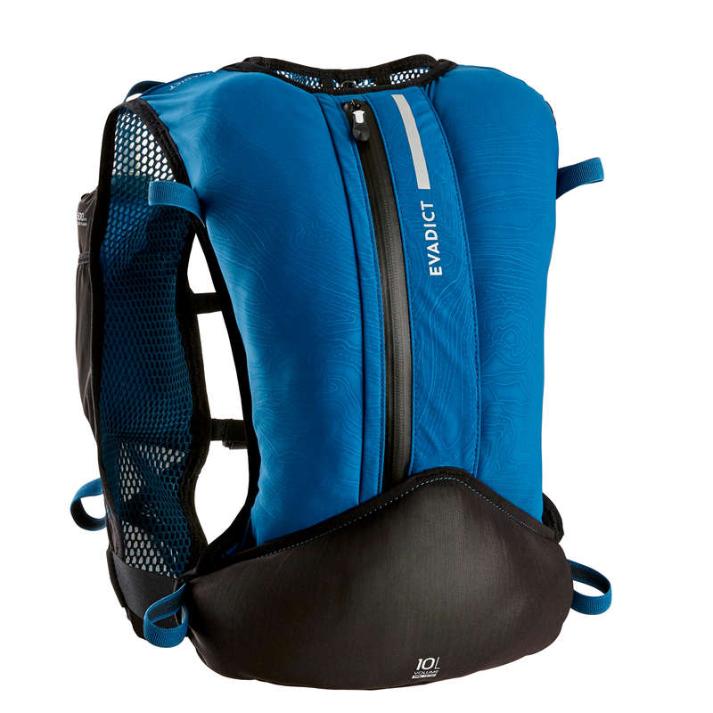 TRAIL RUNNING EQUIPMENT Trail Running - 10 L TRAIL BAG BLUE EVADICT - Backpacks and Water Bottle Carrier Belts