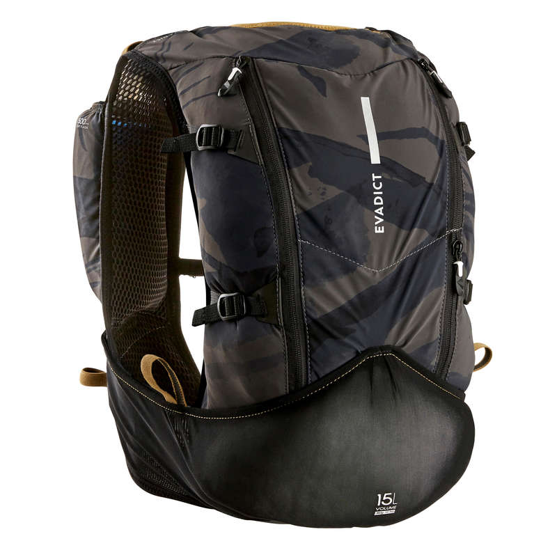 TRAIL RUNNING EQUIPMENT Trail Running - ULTRA TRAIL BAG 15 L BLACK EVADICT - Backpacks and Water Bottle Carrier Belts