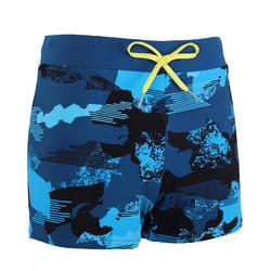 男款四角泳褲100 PEP-迷彩藍色