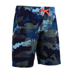 男孩款長版泳褲100-迷彩藍