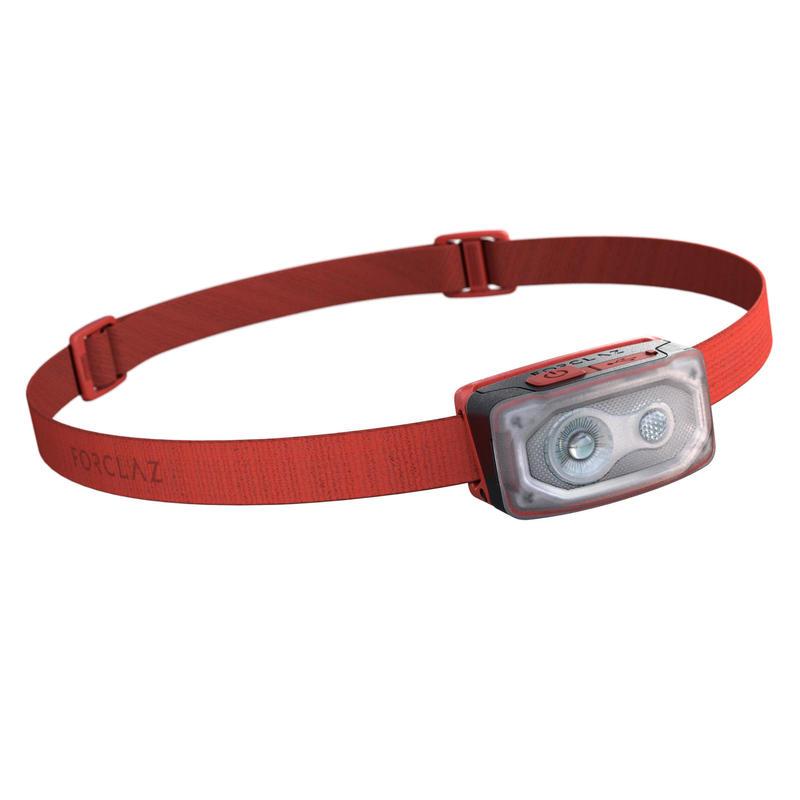 Herlaadbare hoofdlamp voor trekking Bivouac 500 USB rood 100 lumen