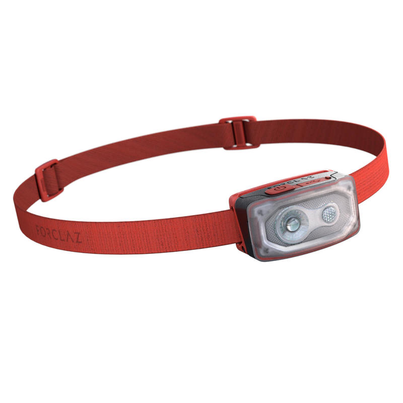 Linterna Frontal de Montaña, Forclaz V500, Recargable USB, 100 Lúmenes, Rojo