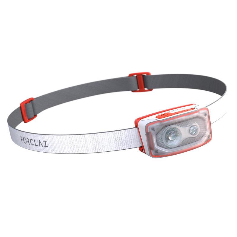 Linterna Frontal de Montaña, Forclaz V500, Recargable USB, 100 Lúmenes, Blanco