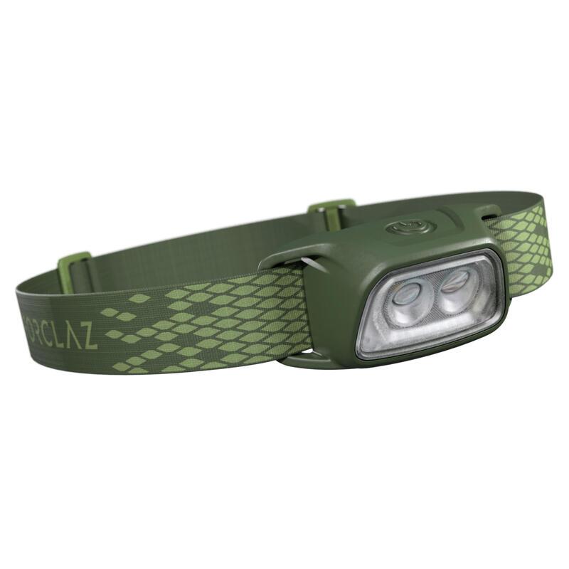 Linterna Frontal de Montaña, Forclaz, Trek 100,Recargable USB, 120 Lúmenes,Verde